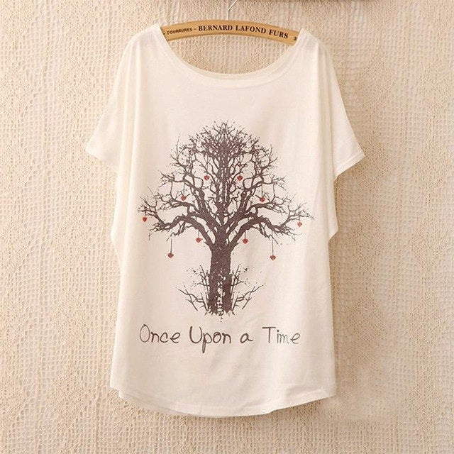 Cotton Tee Tops With Cute Prints and Batwing Sleeve kang01 / One Size in Strawbie Collections - girls T-Shirt