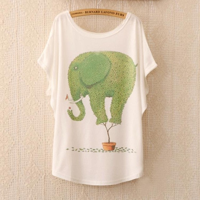 Cotton Tee Tops With Cute Prints and Batwing Sleeve kang05 / One Size in Strawbie Collections - girls T-Shirt
