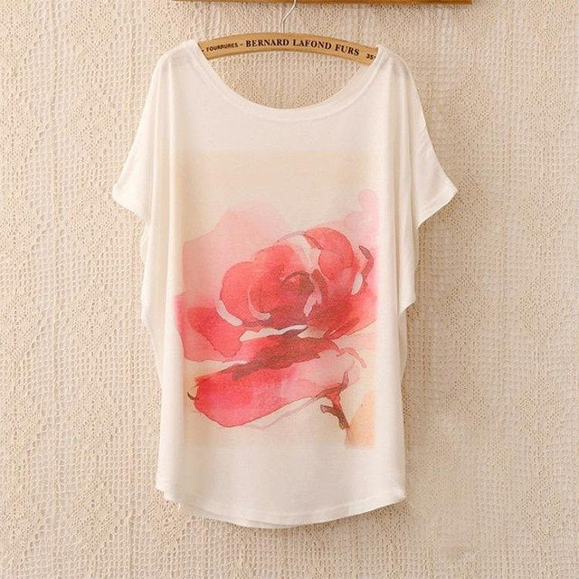 Cotton Tee Tops With Cute Prints and Batwing Sleeve kang07 / One Size in Strawbie Collections - girls T-Shirt