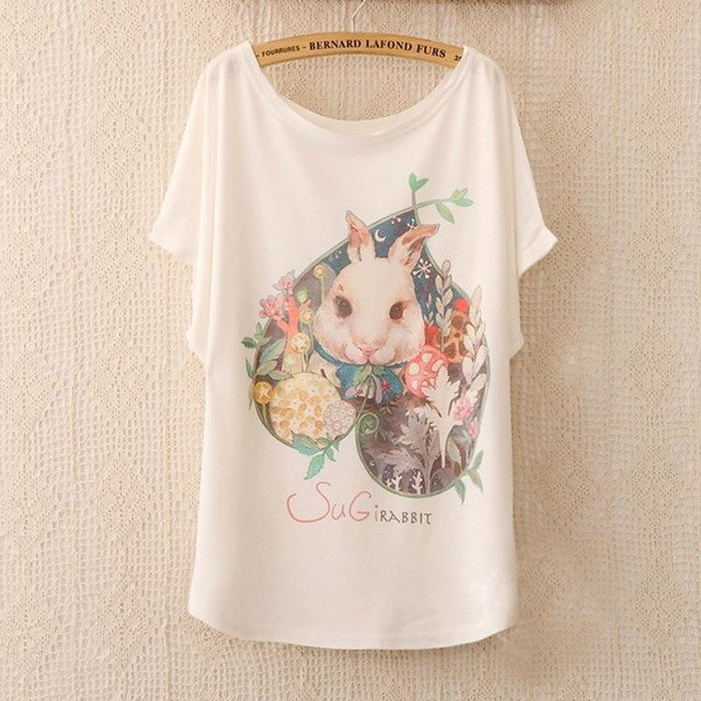 Cotton Tee Tops With Cute Prints and Batwing Sleeve kang08 / One Size in Strawbie Collections - girls T-Shirt