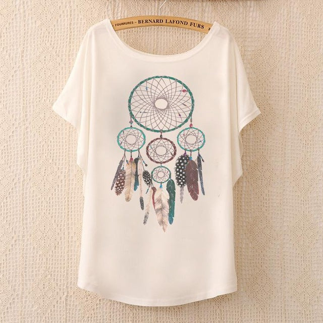 Cotton Tee Tops With Cute Prints and Batwing Sleeve kang09 / One Size in Strawbie Collections - girls T-Shirt