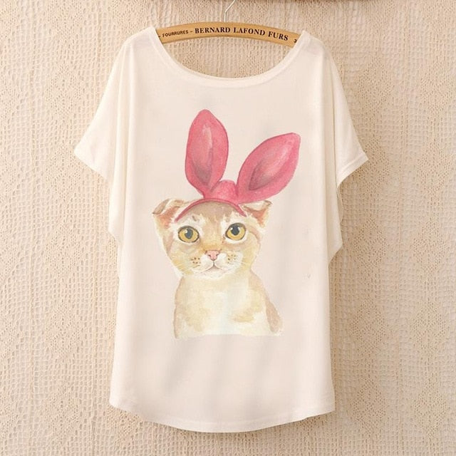 Cotton Tee Tops With Cute Prints and Batwing Sleeve kang12 / One Size in Strawbie Collections - girls T-Shirt