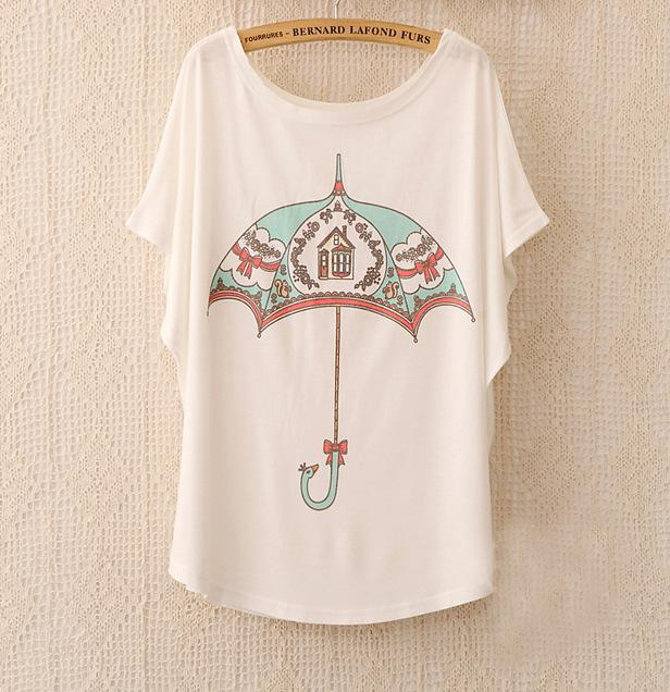 Cotton Tee Tops With Cute Prints and Batwing Sleeve kang13 / One Size in Strawbie Collections - girls T-Shirt