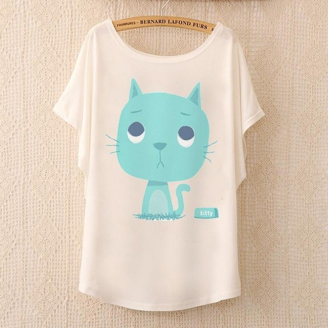 Cotton Tee Tops With Cute Prints and Batwing Sleeve kang15 / One Size in Strawbie Collections - girls T-Shirt