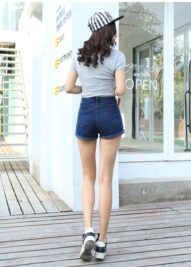 Retro High Waist Elastic Denim Shorts  in Strawbie Collections - girls shorts