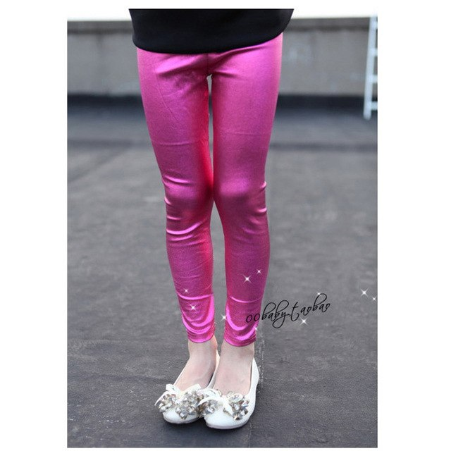 Shiny Colourful Leggings For Girls rose red / 10 in Strawbie Collections - girls pants