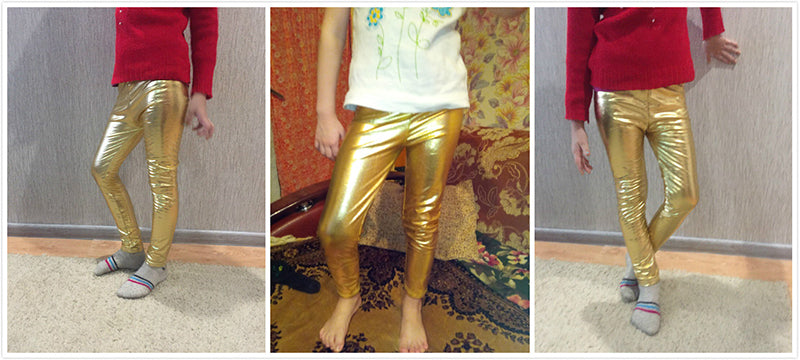 Shiny Colourful Leggings For Girls  in Strawbie Collections - girls pants