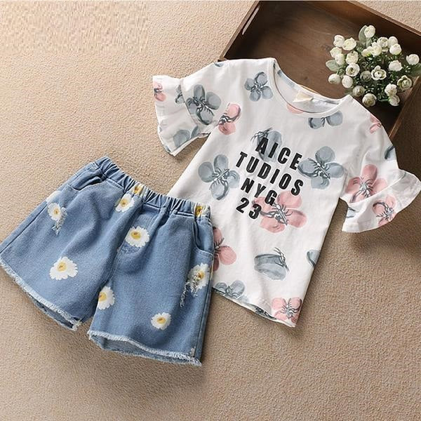 Flower Printed Girls Top And Shorts Set  in Strawbie Collections - girls shorts and top sets
