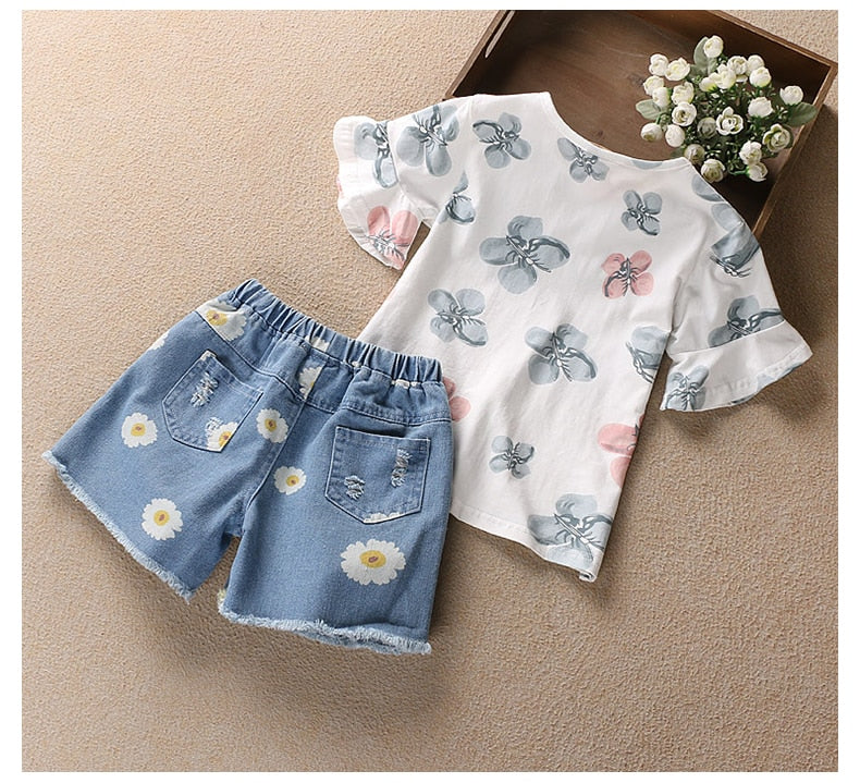 Flower Printed Girls Top And Shorts Set - girls shorts and top sets - - Strawbie Collections