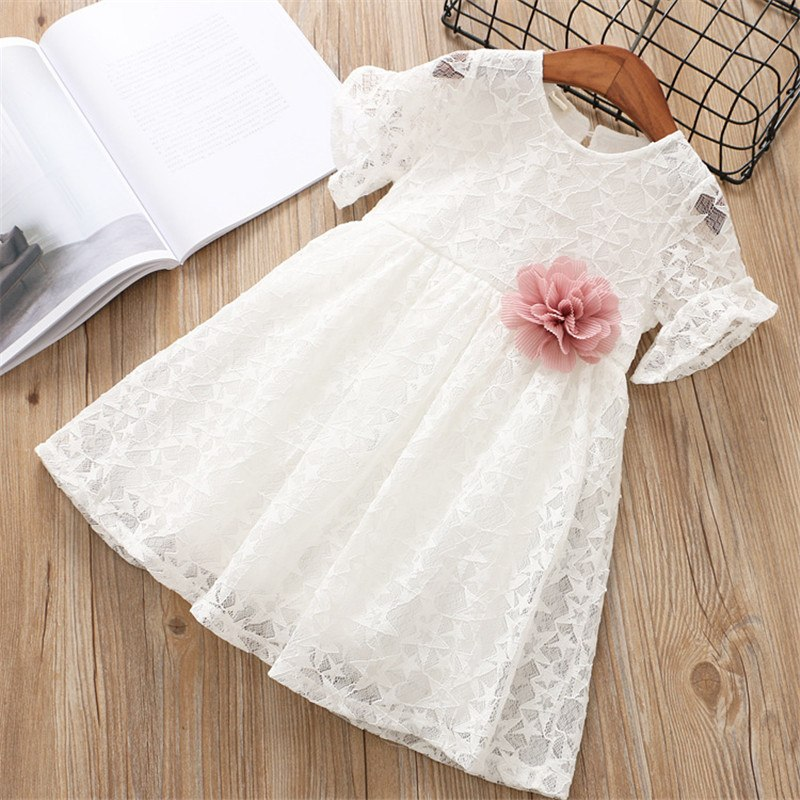 Lace Princess Dress With Flower Pin White / 6 in Strawbie Collections - girls dress