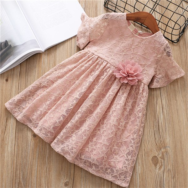 Lace Princess Dress With Flower Pin Pink / 6 in Strawbie Collections - girls dress
