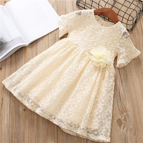 Lace Princess Dress With Flower Pin Yellow / 6 in Strawbie Collections - girls dress