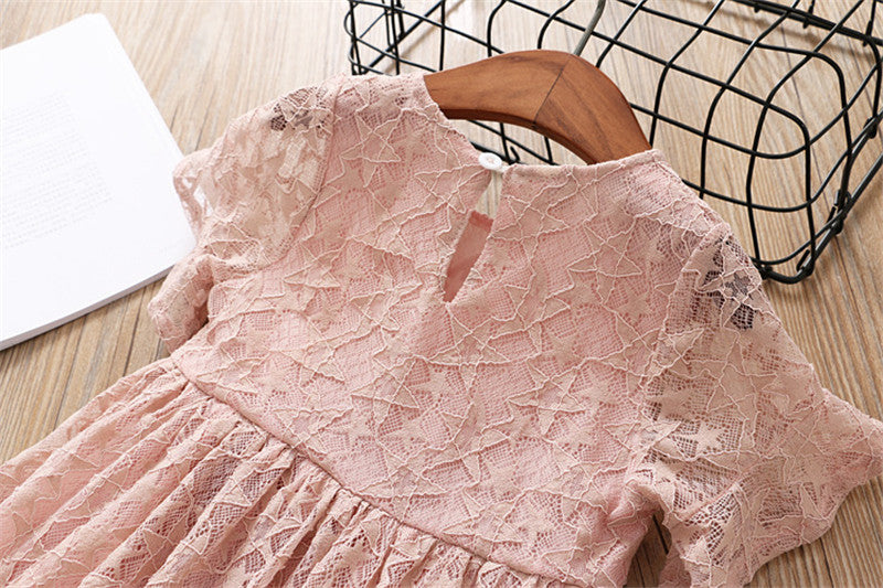Lace Princess Dress With Flower Pin  in Strawbie Collections - girls dress
