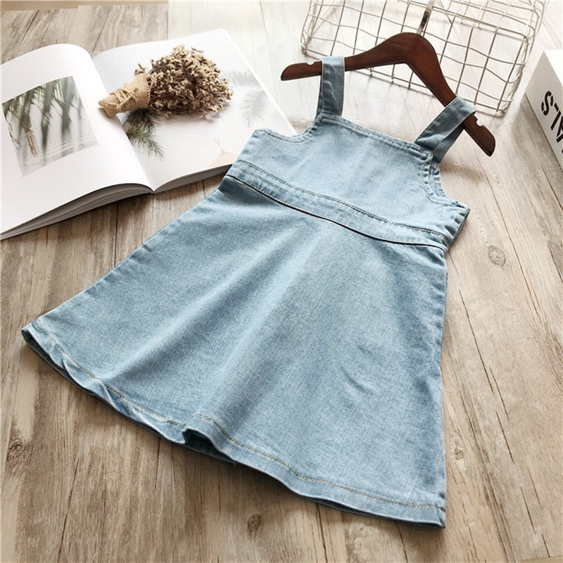 Denim Strap Sleeve Summer Dress with Front Pockets - girls dress - - Strawbie Collections