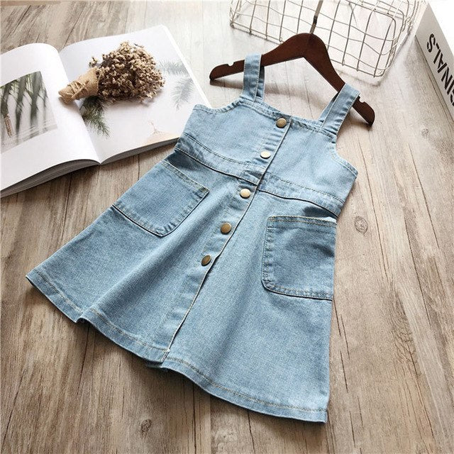 Denim Strap Sleeve Summer Dress with Front Pockets Blue / 3 in Strawbie Collections - girls dress