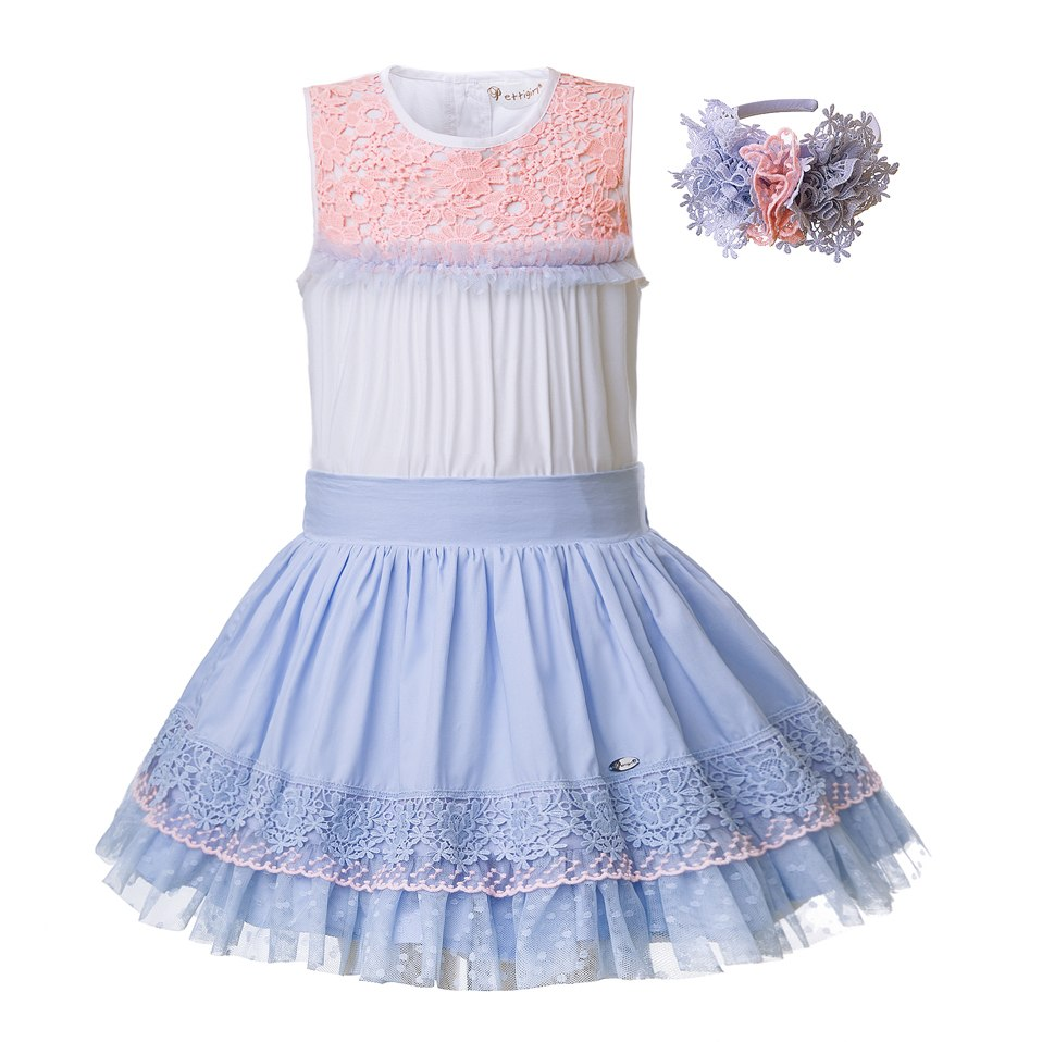 Beautiful Blue Skirt And Lace Top Suit Sets With Headband - girls skirt and top - Sky Blue / 10 - Strawbie Collections