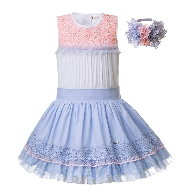 Beautiful Blue Skirt And Lace Top Suit Sets With Headband Sky Blue / 8 in Strawbie Collections - girls skirt and top