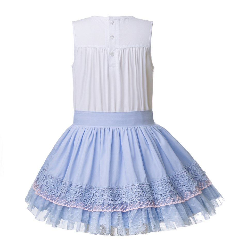 Beautiful Blue Skirt And Lace Top Suit Sets With Headband - girls skirt and top - - Strawbie Collections