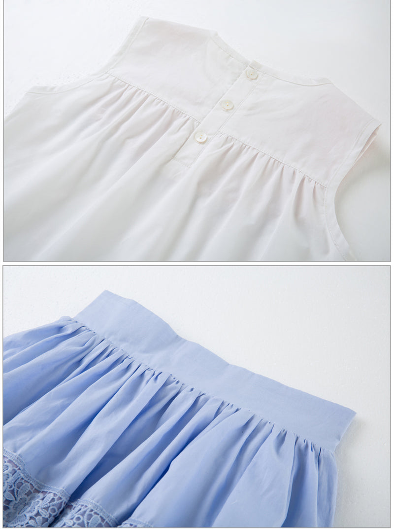 Beautiful Blue Skirt And Lace Top Suit Sets With Headband  in Strawbie Collections - girls skirt and top