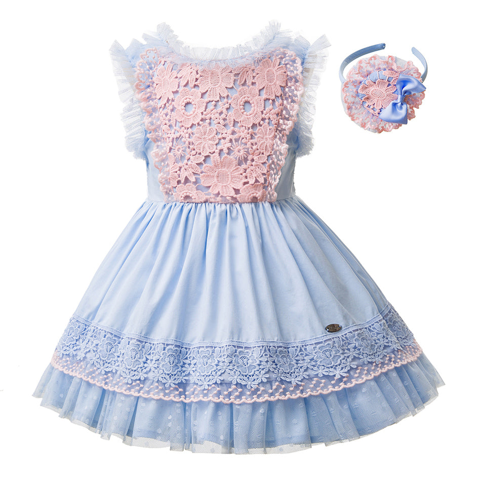 Sleeveless Princess Dress With Lace Decoration And A Headband Sky Blue / 8 in Strawbie Collections - girls dress