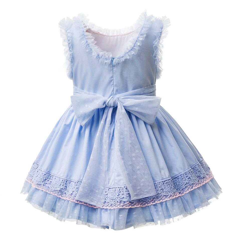 Sleeveless Princess Dress With Lace Decoration And A Headband  in Strawbie Collections - girls dress