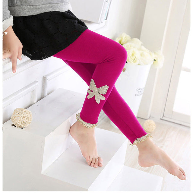 Beautiful Spring Autumn Stretchy Leggings With Lace Work rose / 10 in Strawbie Collections - Girls Pants