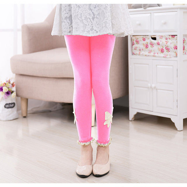 Beautiful Spring Autumn Stretchy Leggings With Lace Work pink / 10 in Strawbie Collections - Girls Pants