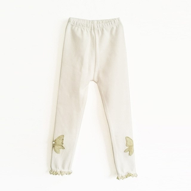 Beautiful Spring Autumn Stretchy Leggings With Lace Work white / 10 in Strawbie Collections - Girls Pants