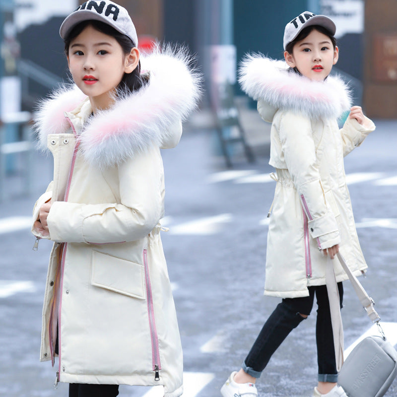 Fur Hooded Fashionable Downs And Parkas White / 14 in Strawbie Collections - padded-jacket