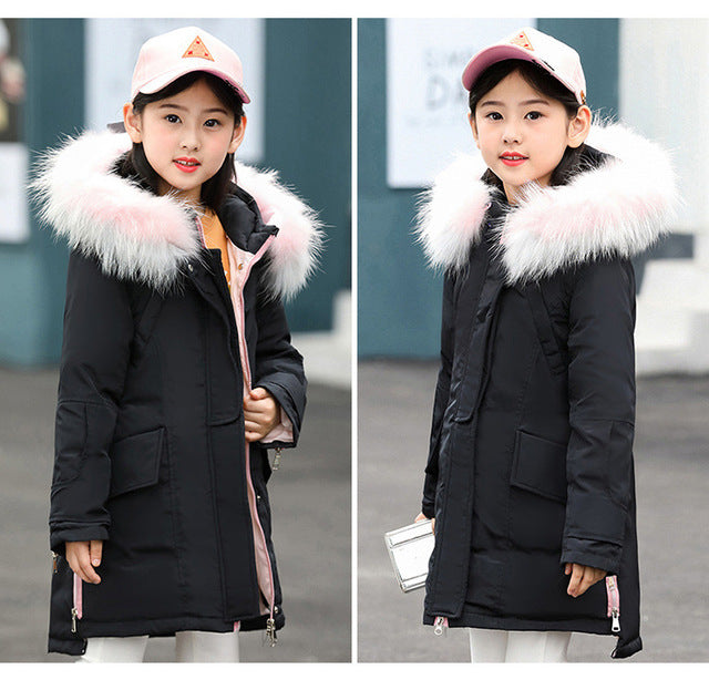 Fur Hooded Fashionable Downs And Parkas Black / 14 in Strawbie Collections - padded-jacket