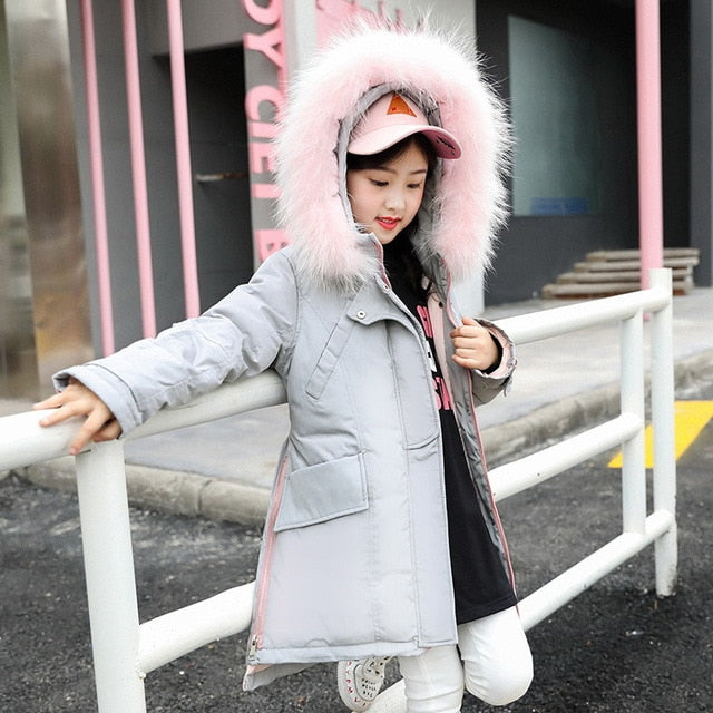 Fur Hooded Fashionable Downs And Parkas Gray / 14 in Strawbie Collections - padded-jacket