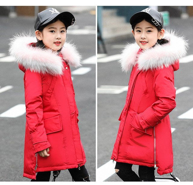 Fur Hooded Fashionable Downs And Parkas - padded-jacket - Red / 6 - Strawbie Collections