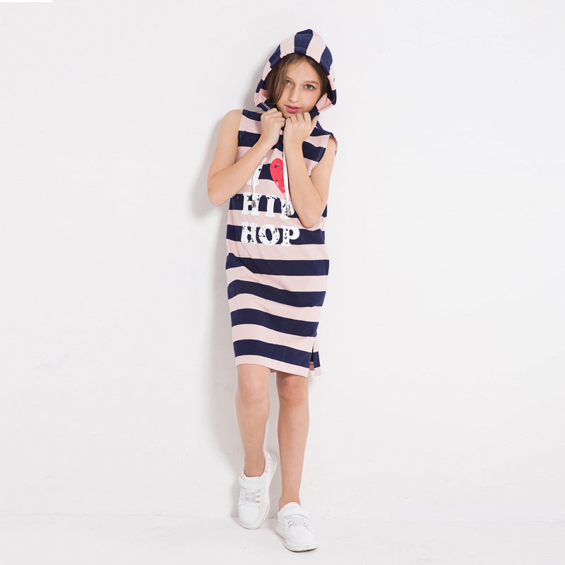 Casual Cotton Sleeveless Striped Hoodie Dress With Pockets - girls dress - - Strawbie Collections
