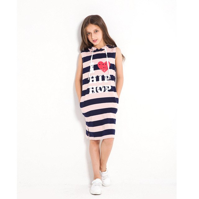 Casual Cotton Sleeveless Striped Hoodie Dress With Pockets dark blue stripe / 14 in Strawbie Collections - girls dress