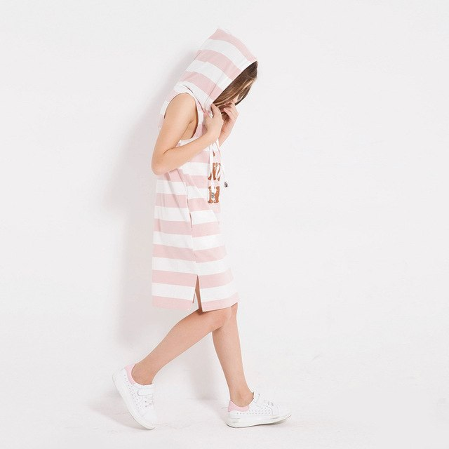 Casual Cotton Sleeveless Striped Hoodie Dress With Pockets pink white stripe / 14 in Strawbie Collections - girls dress