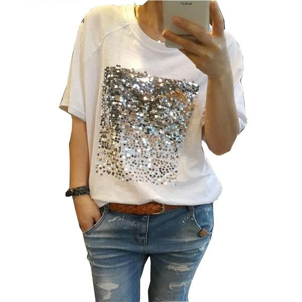 Sequin decorated short sleeve tee tops