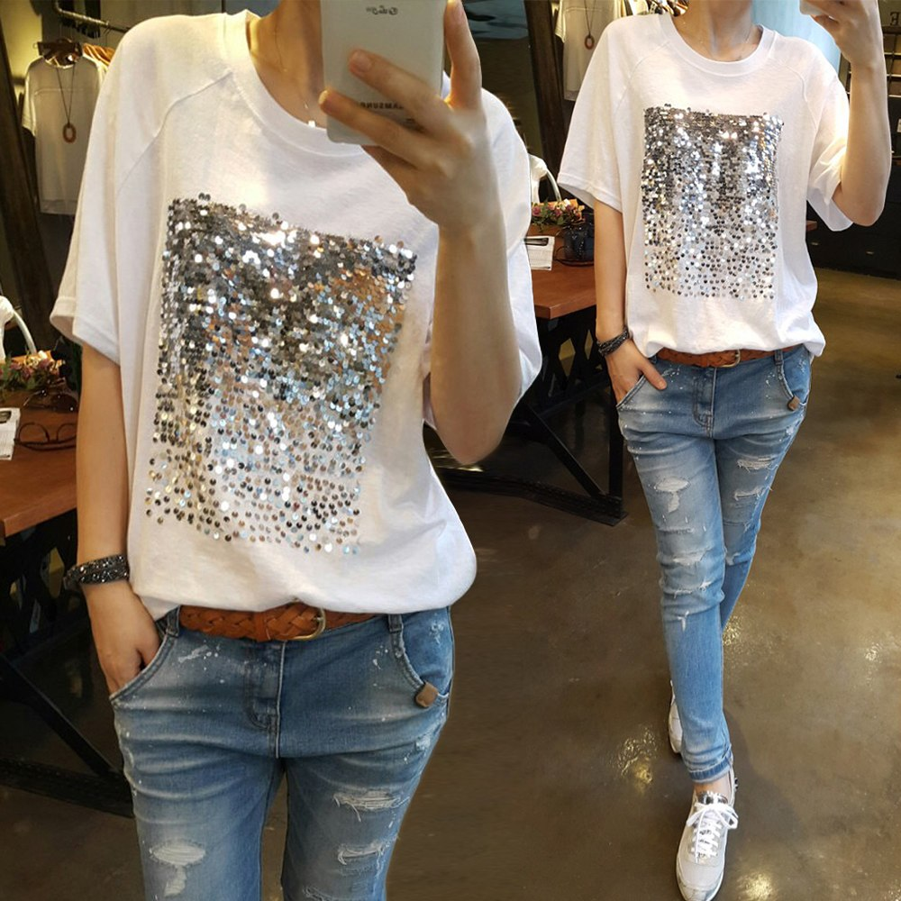 Sequin decorated short sleeve tee tops - Girls Tops - - Strawbie Collections