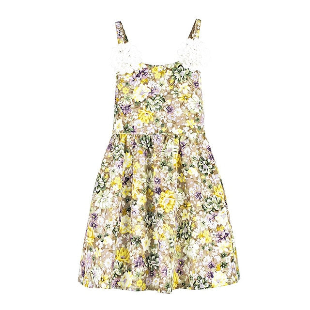 Floral Strap Sleeve Cotton Dress Yellow / 3 in Strawbie Collections - girls dress