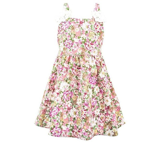 Floral Strap Sleeve Cotton Dress - girls dress - Pink / 4 - Strawbie Collections