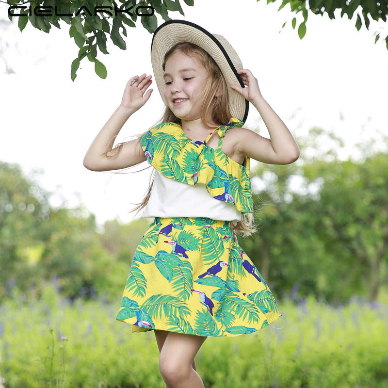 Cotton Off-Shoulder Top and Leaf Print Skirt Set  in Strawbie Collections - girls dress