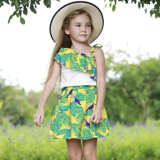 Cotton Off-Shoulder Top and Leaf Print Skirt Set Green / 5 in Strawbie Collections - girls dress