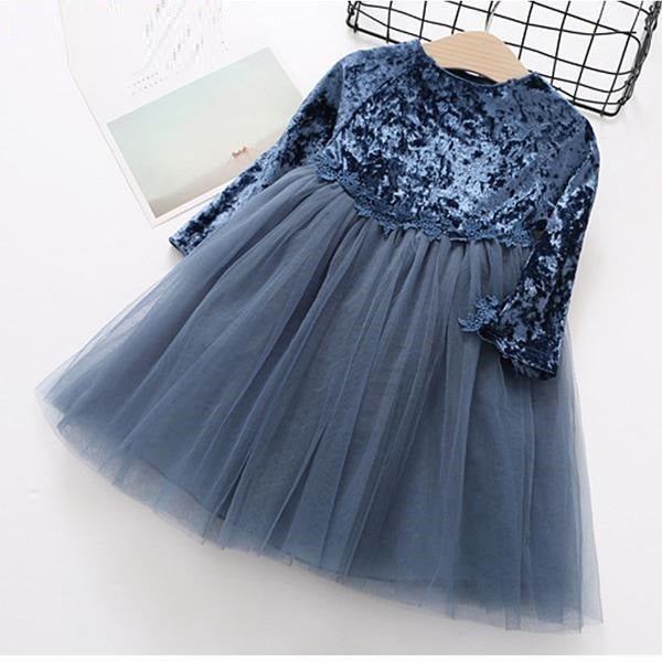 Party Princess Dress in  Velvet And Mesh Patchwork Blue / 8 in Strawbie Collections - girls dress