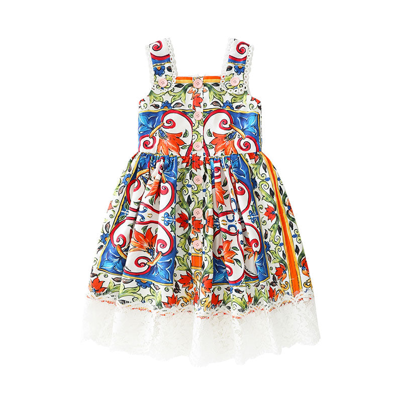 Floral Pattern Dress With Lace Decorations Multi / 10 in Strawbie Collections - girls dress