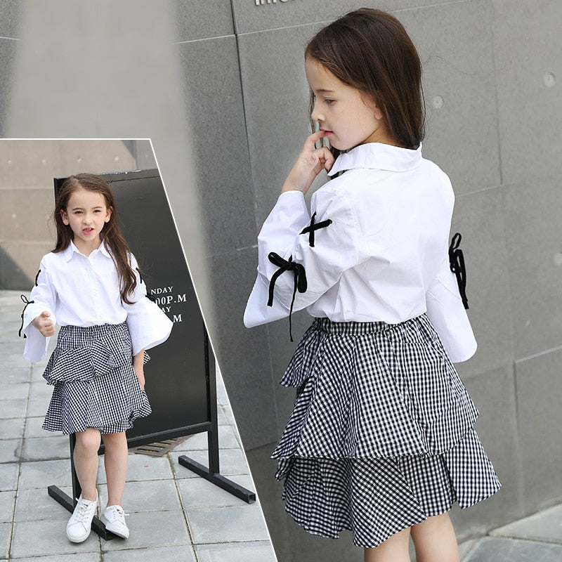 Plaid Skirt And Long Sleeve White Blouse Sets  in Strawbie Collections - girls skirt and top sets