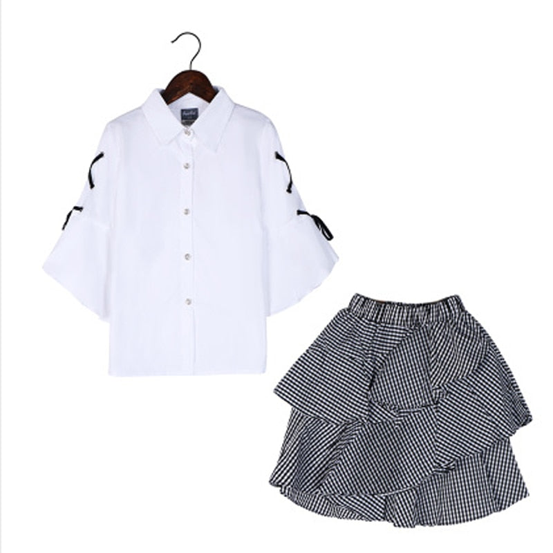 Plaid Skirt And Long Sleeve White Blouse Sets White / 15 in Strawbie Collections - girls skirt and top sets