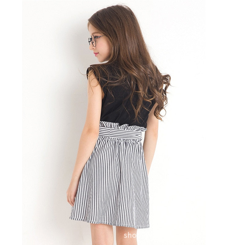 Petal Sleeve Tee Top With Stripe Skirt Set  in Strawbie Collections - girls skirt and top sets