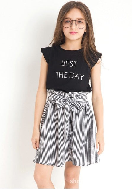 Petal Sleeve Tee Top With Stripe Skirt Set Black / 14 in Strawbie Collections - girls skirt and top sets