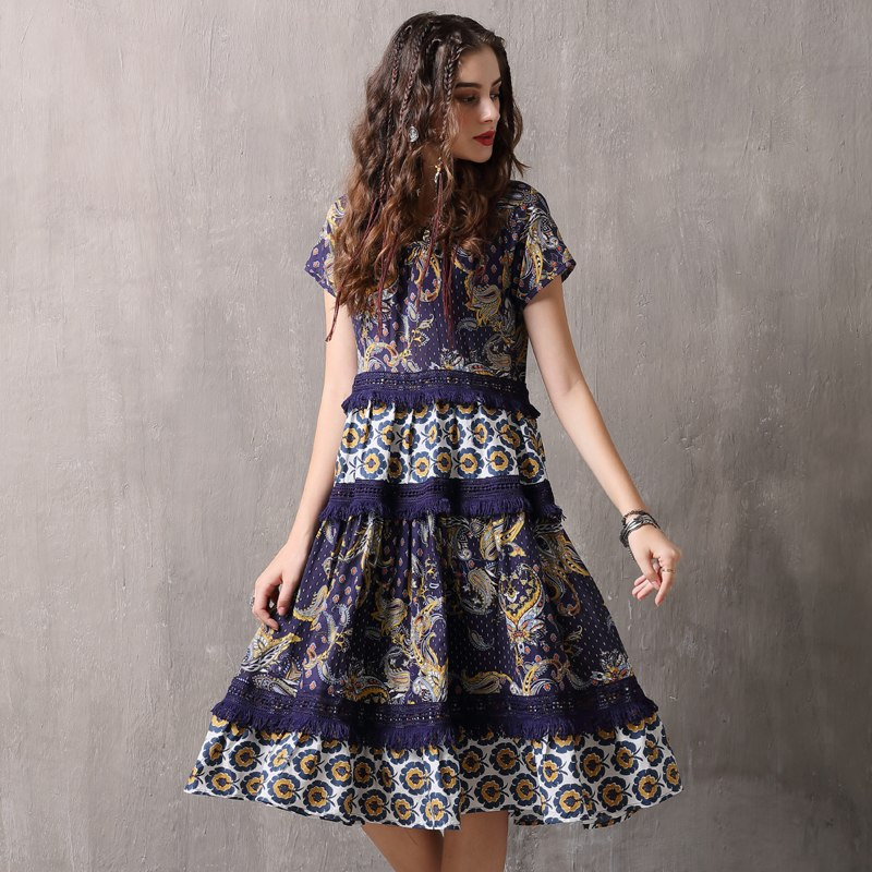 A-Line Floral Patchwork Short Sleeve Dress  in Strawbie Collections - girls dress