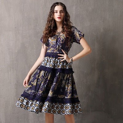 A-Line Floral Patchwork Short Sleeve Dress Denim Blue / L in Strawbie Collections - girls dress