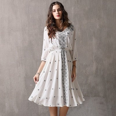 Beautiful Lantern Sleeve Vintage Dress In White White / L in Strawbie Collections - girls dress